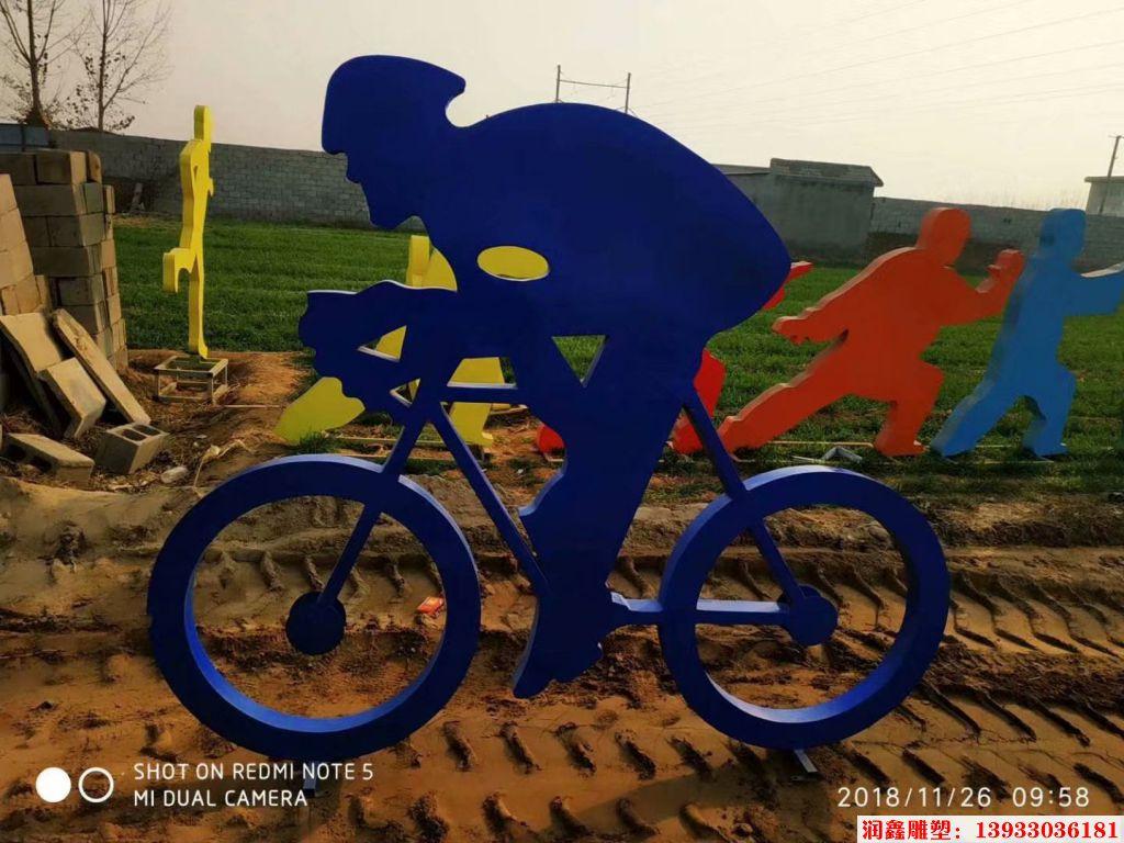 骑行者人物剪影雕塑9