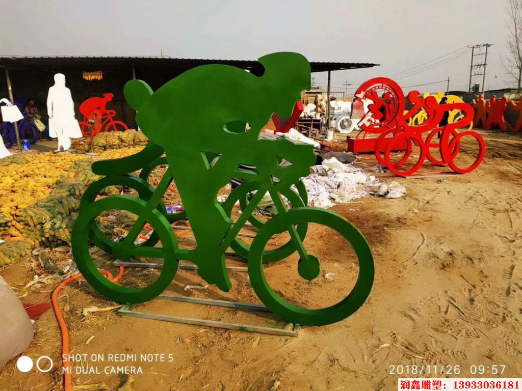骑行者人物剪影雕塑11