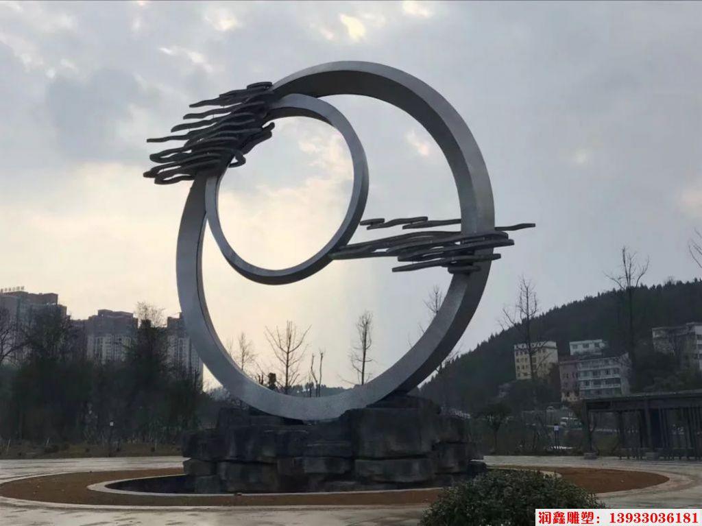 企业不锈钢雕塑,不锈钢祥云景观装饰2
