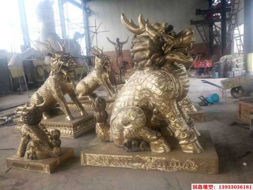 企业铜麒麟雕塑4