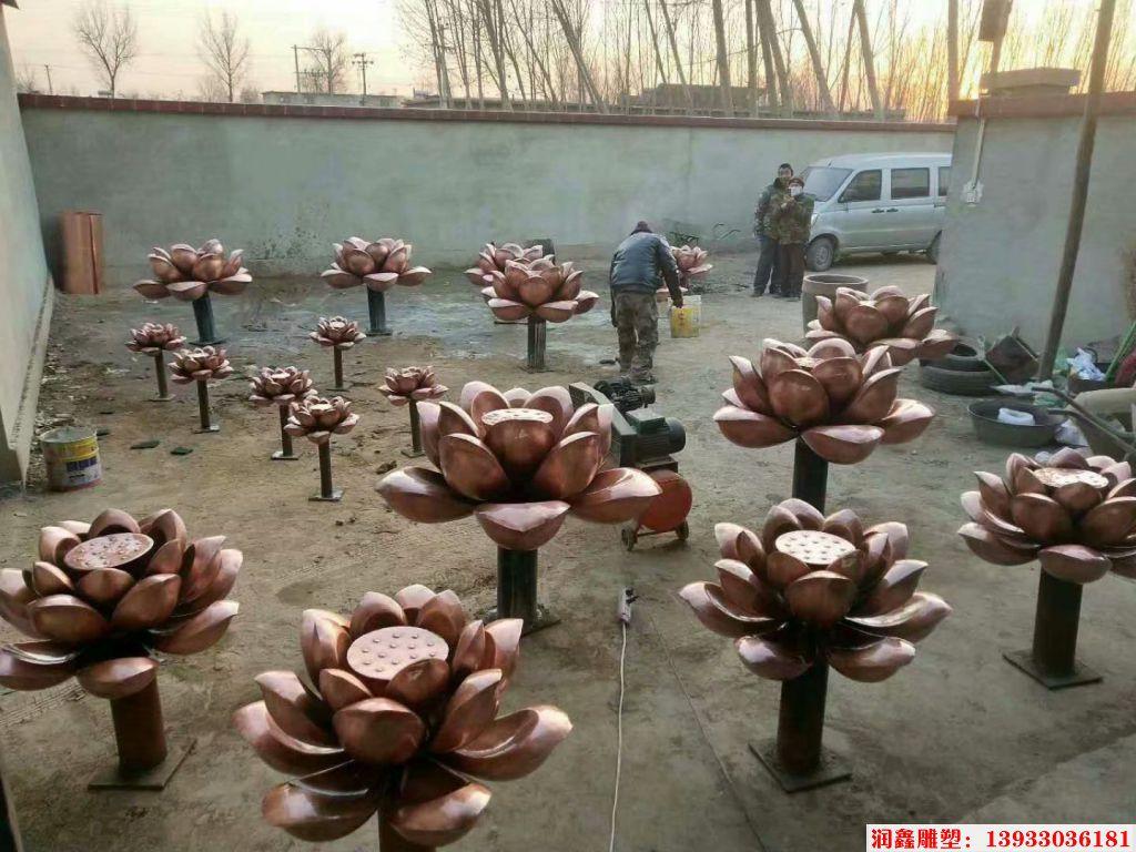 手工锻造铜荷花雕塑
